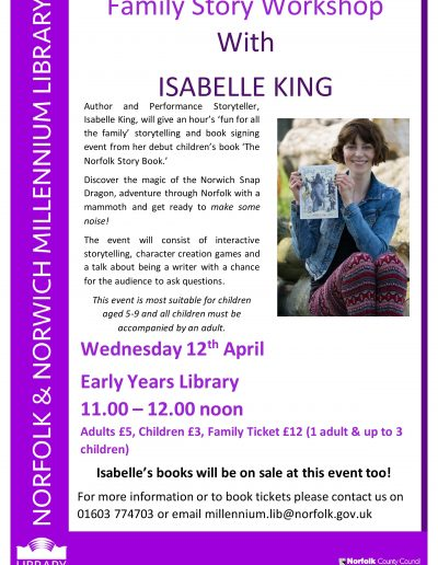 Isabelle King story event 12 April