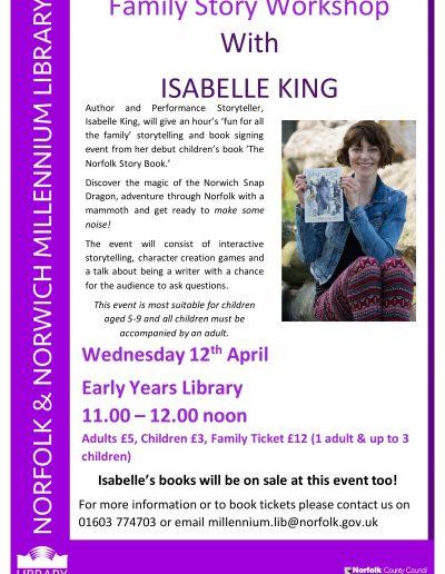 Isabelle King story event 12 April